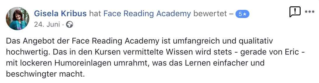 Testimonial Gisela Kribus - Eric Standop - Face Reading Academy - Read the Face