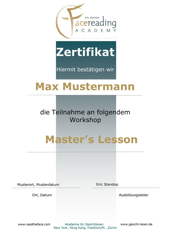 Zertifikat - Workshop - Master's Lesson - Eric Standop - Face Reading Academy - Read the Face