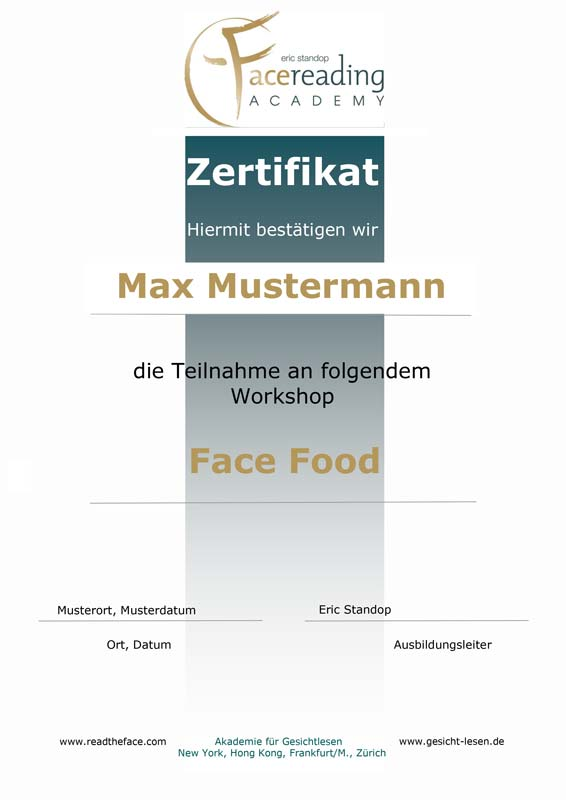Zertifikat - Face Food - Die Ernaehrung in deinem Gesicht - Eric Standop - Face Reading Academy - Read the Face