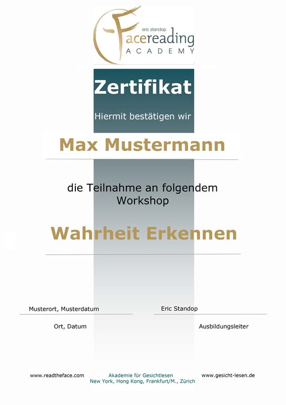 Zertifikat - Workshop - Wahrheit erkennen - Luegen entlarven - Eric Standop - Face Reading Academy - Read the Face